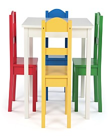 Kids Wood Table and 4 Chairs Set