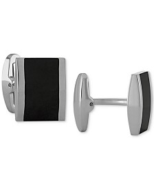 Men's Two-Tone Rectangle Cuff Links in Stainless Steel and Black Ion-Plate