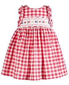 Bonnie Baby Baby Girls Embroidered Smocked Waist Dress