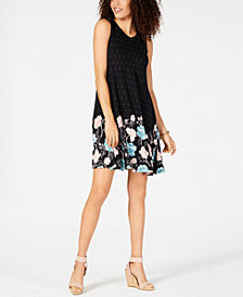 Style & Co Mixed-Print Sleeveless Swing Dress, Created for Macy's