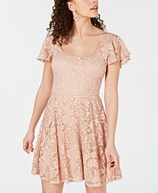 Juniors' Scoop-Neck Lace Fit & Flare Dress
