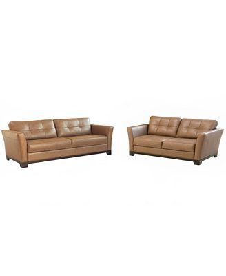 Martino Leather Living Room Furniture 2 Piece Set Sofa