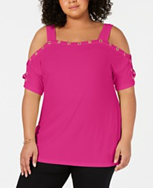 Belldini Plus Size Cold-Shoulder Grommet-Trim Top