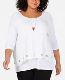 Belldini Plus Size Layered-Look Grommet-Trim Top