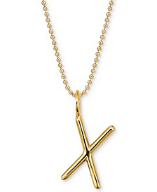 """Andi Initial Pendant Necklace in 14k Gold-Plate Over Sterling Silver, 16"""" + 2"""" extender"""