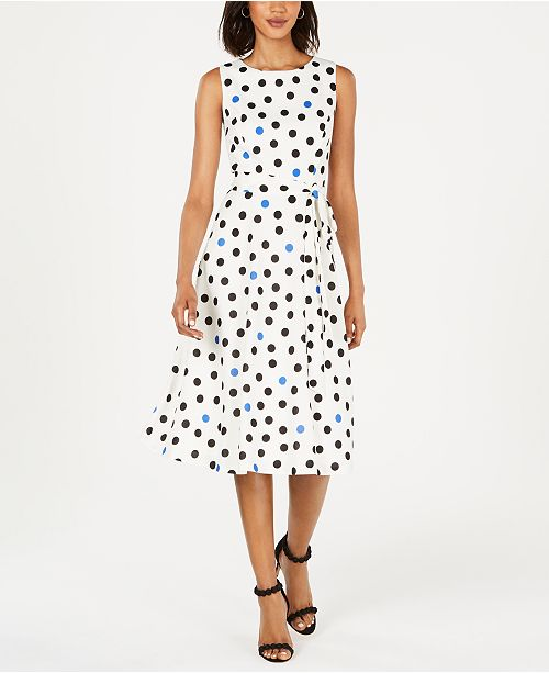 Jessica Howard Dot-Print Fit & Flare Dress