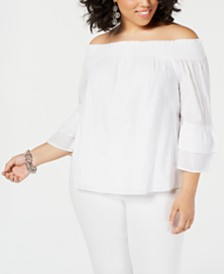 I.N.C. Plus Size Off-The-Shoulder Metallic Top, Created for Macy's