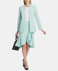 Calvin Klein Petites Open-Front Jacket & Ruffled Pencil Skirt