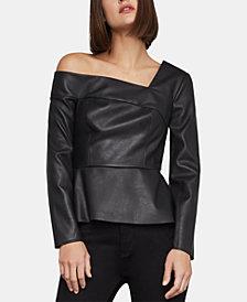BCBGMAXAZRIA Faux-Leather One-Shoulder Top
