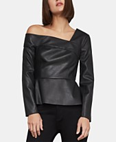f405a82d9b8708 BCBGMAXAZRIA Faux-Leather One-Shoulder Top. Quickview