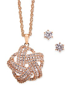 Charter Club 2-Pc. Rose Gold-Tone Set Crystal Baguette Knot Pendant Necklace & Crystal Stud Earrings, Created for Macy's