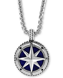 "EFFY® Men's Lapis Lazuli (14-1/2mm) Compass 22"" Pendant Necklace in Sterling Silver"