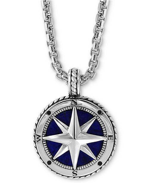 "EFFY Collection EFFY® Men's Lapis Lazuli (14-1/2mm) Compass 22"" Pendant Necklace in Sterling Silver"