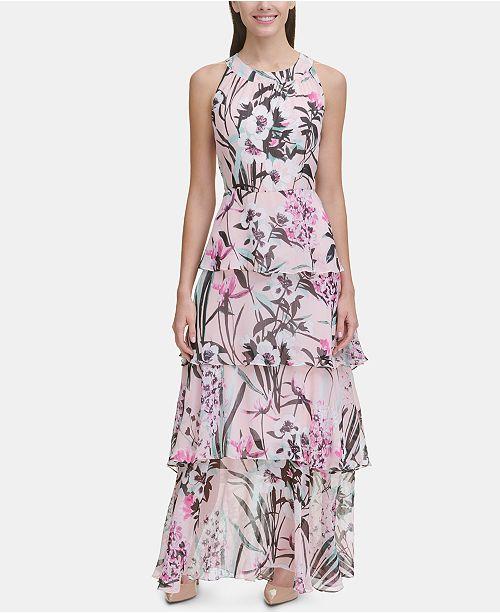 9d61f50b75a ... Tommy Hilfiger Printed Chiffon Tier Maxi Dress