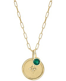 "Crystal Charm Long Pendant Necklace in 14k Gold-Plated Sterling Silver, 36"" + 2"" extender"