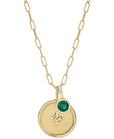 "Sarah Chloe Crystal Charm Long Pendant Necklace in 14k Gold-Plated Sterling Silver, 36"" + 2"" extender"