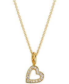 "Love Count Diamond Heart Pendant Necklace (1/10 ct. t.w.) in 14k Gold-Plate over Sterling Silver, 16"" + 2"" extender"