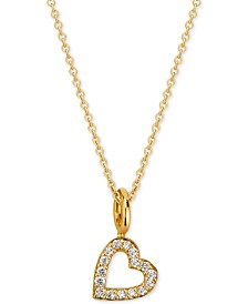 "Sarah Chloe Love Count Diamond Heart Pendant Necklace (1/10 ct. t.w.) in 14k Gold-Plate over Sterling Silver, 16"" + 2"" extender"