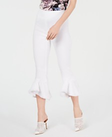 I.N.C. Petite Cropped Ruffle-Hem Pants, Created for Macy's