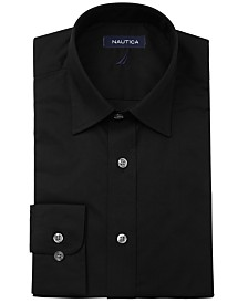 Nautica Men's Classic/Regular-Fit Comfort Stretch Wrinkle-Free Solid Poplin Dress Shirt