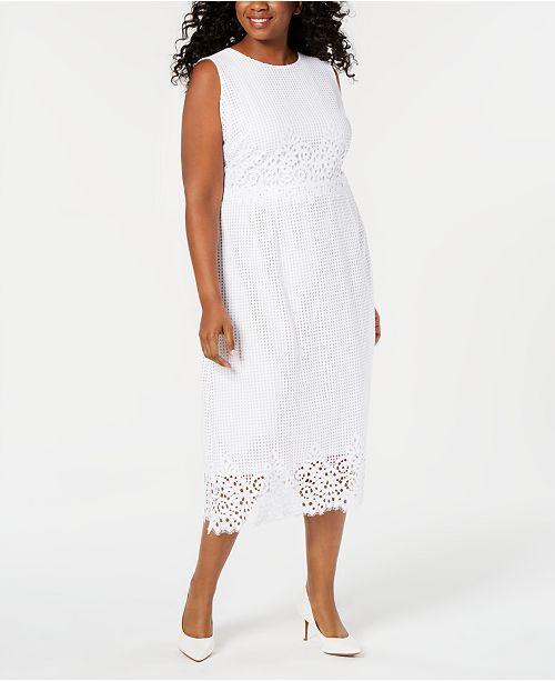 Alfani Plus Size Geo-Lace Midi Dress, Created for Macy\'s ...