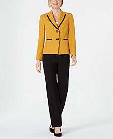 Peak-Lapel Contrast-Trimmed Pantsuit