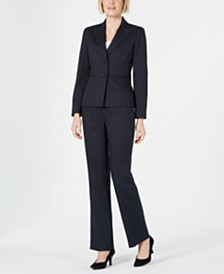 Le Suit Petite Pinstriped Pants Suit