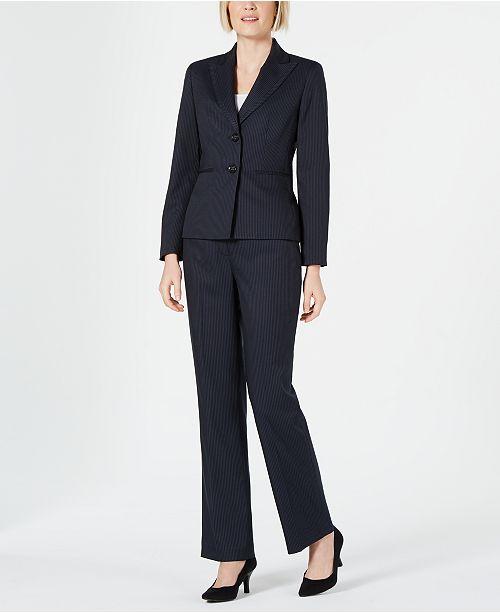 Le Suit Striped Two-Button Pantsuit