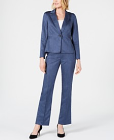 Le Suit Petite Single-Button Blazer Pants Suit