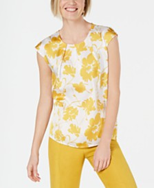 Kasper Floral-Print Pleat-Neck Top