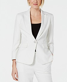 Pinstriped Single-Button Blazer