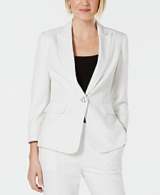 Kasper Pinstriped Single-Button Blazer