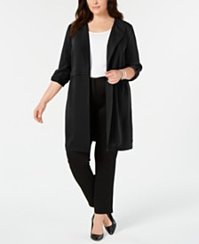 Bar III Plus Size Wing-Collar Topper Jacket, Created for Macy's