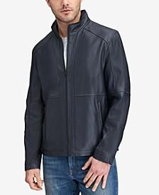 Men's Convertible Collar Leather Jacket