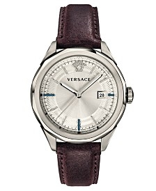Versace Men's Swiss Glaze Burgundy Leather Strap Watch 43mm
