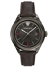 Versace Men's Swiss Glaze Black Leather Strap Watch 43mm