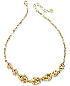 "Charter Club Gold-Tone Pavé Infinity Collar Necklace, 17"" + 2"" extender, Created for Macy's"