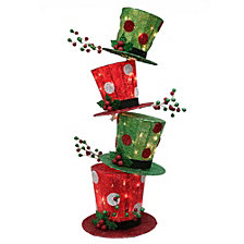 Puleo International 44 in. high Premium Christmas Stacking Hat with 50 UL incandescent clear lights