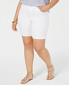 Plus Size  Frayed Bermuda Shorts