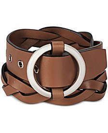 Men's Round-Buckle Braided Leather Belt