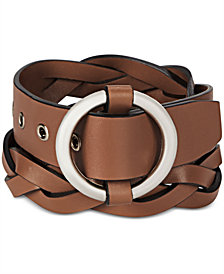 Michael Kors Men's Round-Buckle Braided Leather Belt