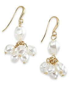 Charter Club Gold-Tone Imitation Pearl Shaky Drop Earrings, Created for Macy's
