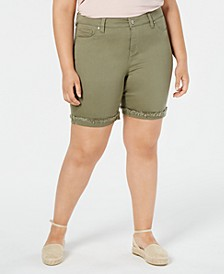 Plus Size  Frayed Bermuda Shorts