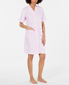 Miss Elaine Printed Brushed Terry Snap-Front Robe