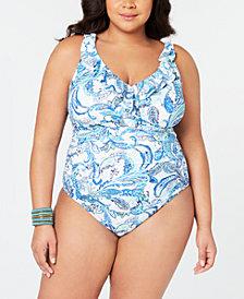 Lauren Ralph Lauren Plus Size Fiesta Paisley Printed Slimming One-Piece Swimsuit