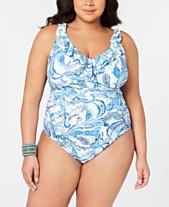 9c8a0cd488 Lauren Ralph Lauren Plus Size Fiesta Paisley Printed Slimming One-Piece  Swimsuit