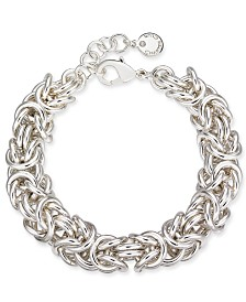 Charter Club Silver-Tone Byzantine Link Bracelet, Created for Macy's