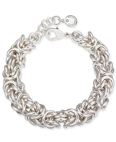 Charter Club Silver-Tone Byzantine Link Bracelet, Created for Macy's