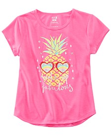 Max & Olivia Little & Big Girls Pineapple-Print Pajama Top, Created for Macy's