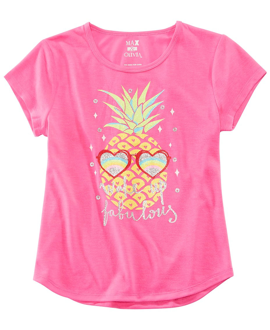 5817f4ec6 Max & Olivia Little & Big Girls Pineapple-Print Pajama Top, Created for  Macy's